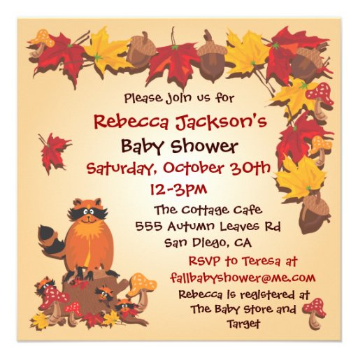 Fall Autumn Leaves with Raccoon Baby Shower Invite (front side)