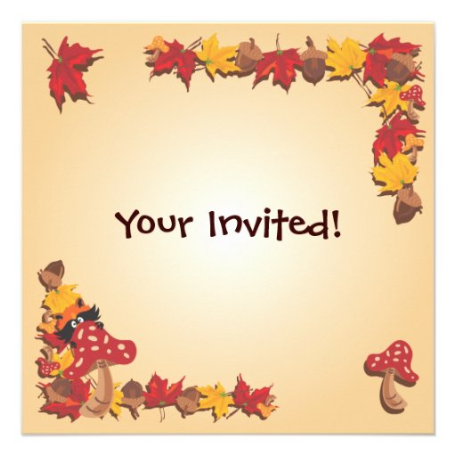 Fall Autumn Leaves with Raccoon Baby Shower Invite (back side)