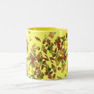 FALL/ AUTUMN LEAVES, Yellow Two-Tone Coffee Mug