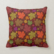 Fall Autumn Maple Leaf Colorful Foliage Pattern Throw Pillow