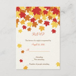 Fall Autumn Maple Leaf Wedding RSVP card