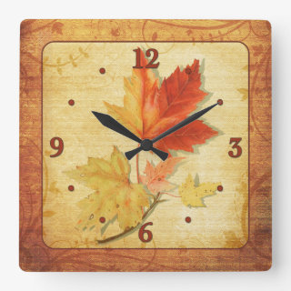 Fall Autumn Maples Leaves Wall Clock