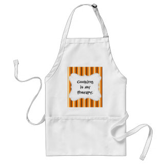 Fall Autumn Orange Brown Cream Striped Pattern Adult Apron
