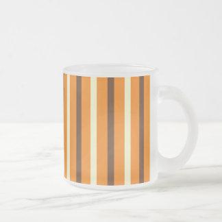 Fall Autumn Orange Brown Cream Striped Pattern Frosted Glass Coffee Mug
