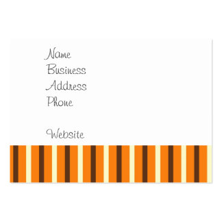 Fall Autumn Orange Brown Cream Striped Pattern Large Business Card