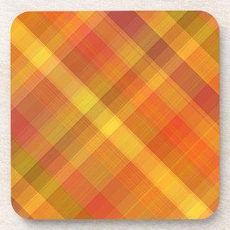 Fall Autumn Orange Plaid Pattern Drink Coaster