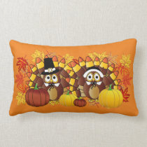 Fall Autumn Owl Turkey Pilgrims | Thanksgiving Lumbar Pillow