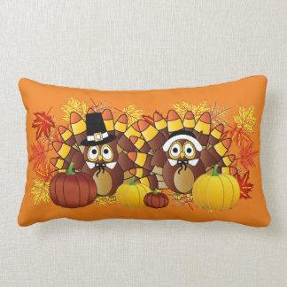 Fall Autumn Owl Turkey Pilgrims   Thanksgiving Lumbar Pillow