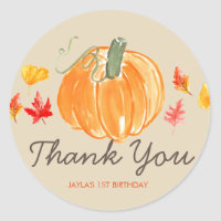 Fall autumn pumpkin birthday thank you sticker