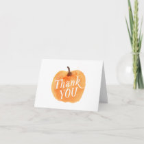 Fall Autumn Pumpkin Folded Birthday Thank You Card