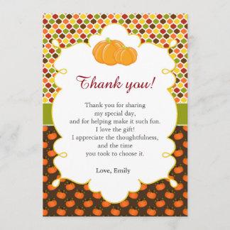 Fall Autumn Pumpkin Thank You Card Note
