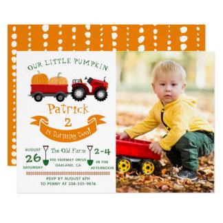 Fall Autumn Pumpkin Tractor Farm Photo Birthday Invitation