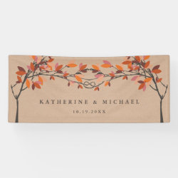 Fall Autumn Red Knotted Love Trees Wedding Banner