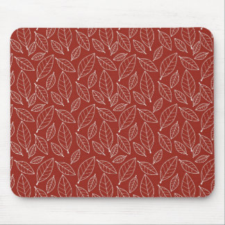 Fall Autumn Red Leaf Leaves Pattern Mouse Pad