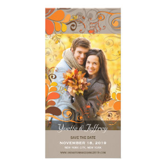 Fall Autumn Rustic Floral Leaves Save The Date Card