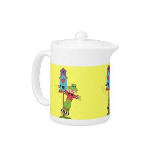 Fall Autumn Scarecrow Design Teapot Pitcher