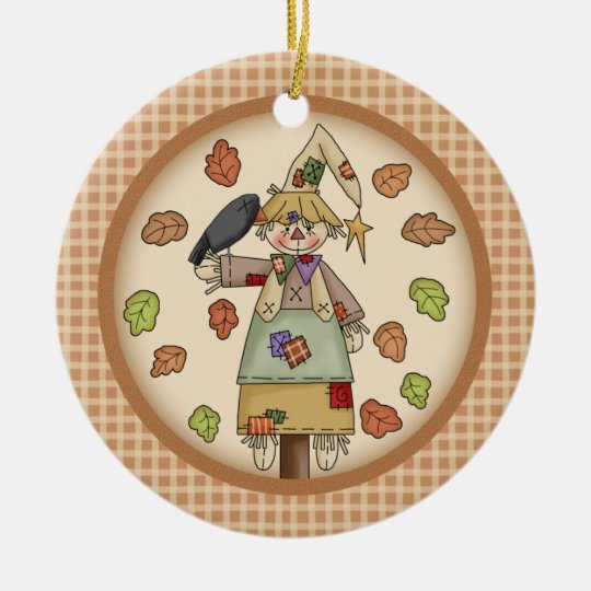 Fall / Autumn Scarecrow on Plaid with Photo Holder Ceramic Ornament