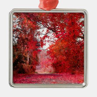 Fall Autumn Season Forest Park Shower Leaf Leaves Square Metal Christmas Ornament