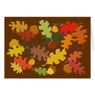 Fall Autumn Season Leaves Oak Design Greeting Cards