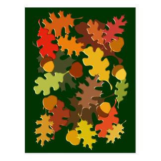 Fall Autumn Season Leaves Oak Design Postcard