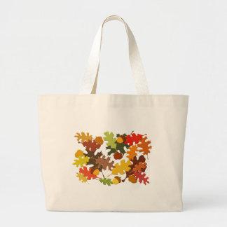 Fall Autumn Season Leaves Oak Design Tote Bags