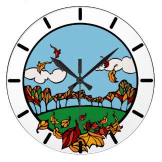 Fall Autumn Season Round Wall Clock