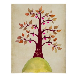 Fall Autumn Tree Wedding Monogram Poster