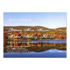 Fall Autumn Trees Lake Country Wedding Invitations 4.5