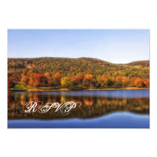 Fall Autumn Trees Lake Country Wedding RSVP Cards