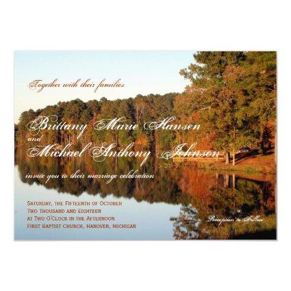 "Fall Autumn Trees Leaves Lake Wedding Invitations 4.5"" X 6.25"" Invitation Card"