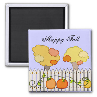 Fall Autumn Trees Pumpkin Picket Fence Fridge Magnets