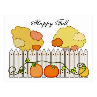 Fall Autumn Trees Pumpkin Picket Fence Postcard