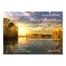 Fall Autumn Trees River Sunset Wedding Invitations