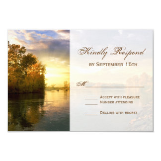 Fall Autumn Trees River Sunset Wedding RSVP Cards