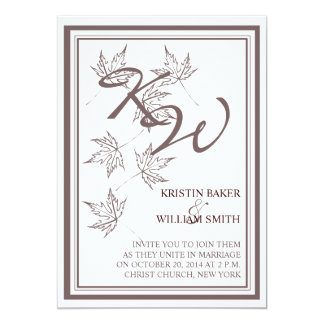Fall Autumn Wedding  Invitation Leaves Brown White