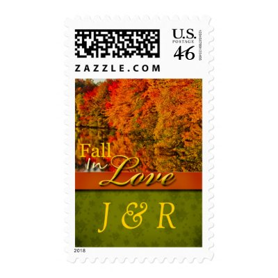Fall  Autumn Wedding Monogram Stamps Postage