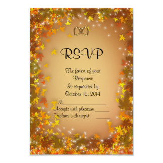 "Fall Autumn Wedding RSVP response card 3.5"" X 5"" Invitation Card"
