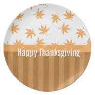Fall, autumn yellow leaves happy thanksgiving plate