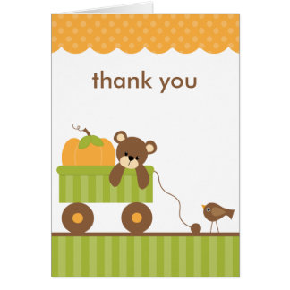 Fall Baby Bear in Wagon Note Cards