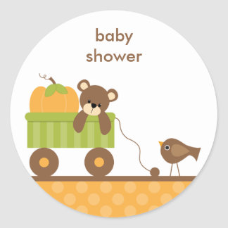 Fall Baby Bear in Wagon Stickers Round Stickers