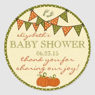 Fall Baby Footprints Shower Thank You Classic Round Sticker