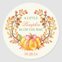 Fall Baby Shower A Little Pumpkin is on the Way Classic Round Sticker