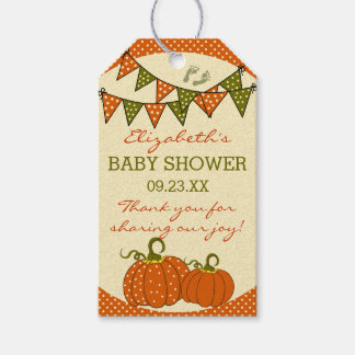 Fall Baby Shower Bunting Flags and Pumpkins Gift Tags