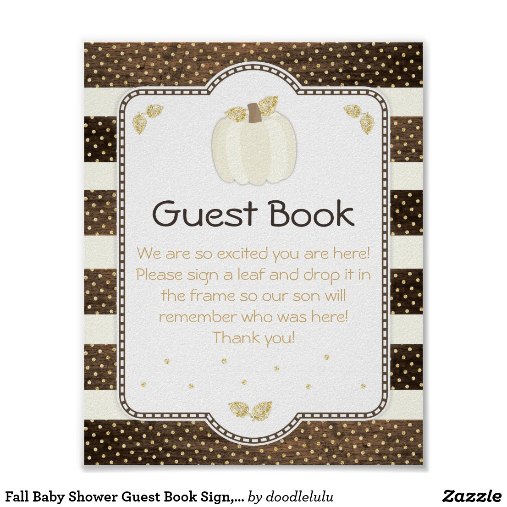 Fall Baby Shower Guest Book Sign, Pumpkin on Wood