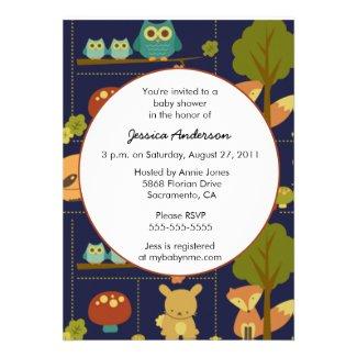 Fall Baby Animals Baby Shower Invitations