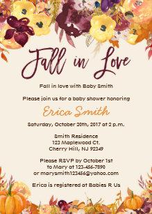 Fall baby shower invitations zazzle fall baby shower invitations fall in love filmwisefo