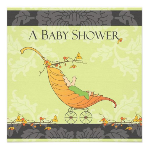 Fall Baby Shower   Leaf Carriage Announcement