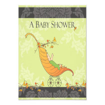 "Fall Baby Shower | Leaf Carriage 5.25"" Square Invitation Card"