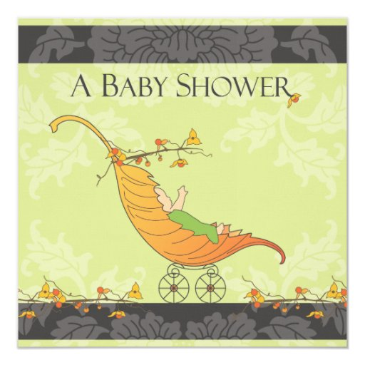 Fall Baby Shower Leaf Carriage Invitation