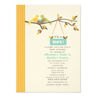 "Fall Baby Shower Mommy & Daddy Birds & Blue Egg 5.5"" X 7.5"" Invitation Card"